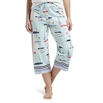 a4ca3e54a HUE Women's Plus Capri Printed Knit Pajama Sleep Pant, Plume - All at Sea,  1X at Amazon Women's Clothing store:
