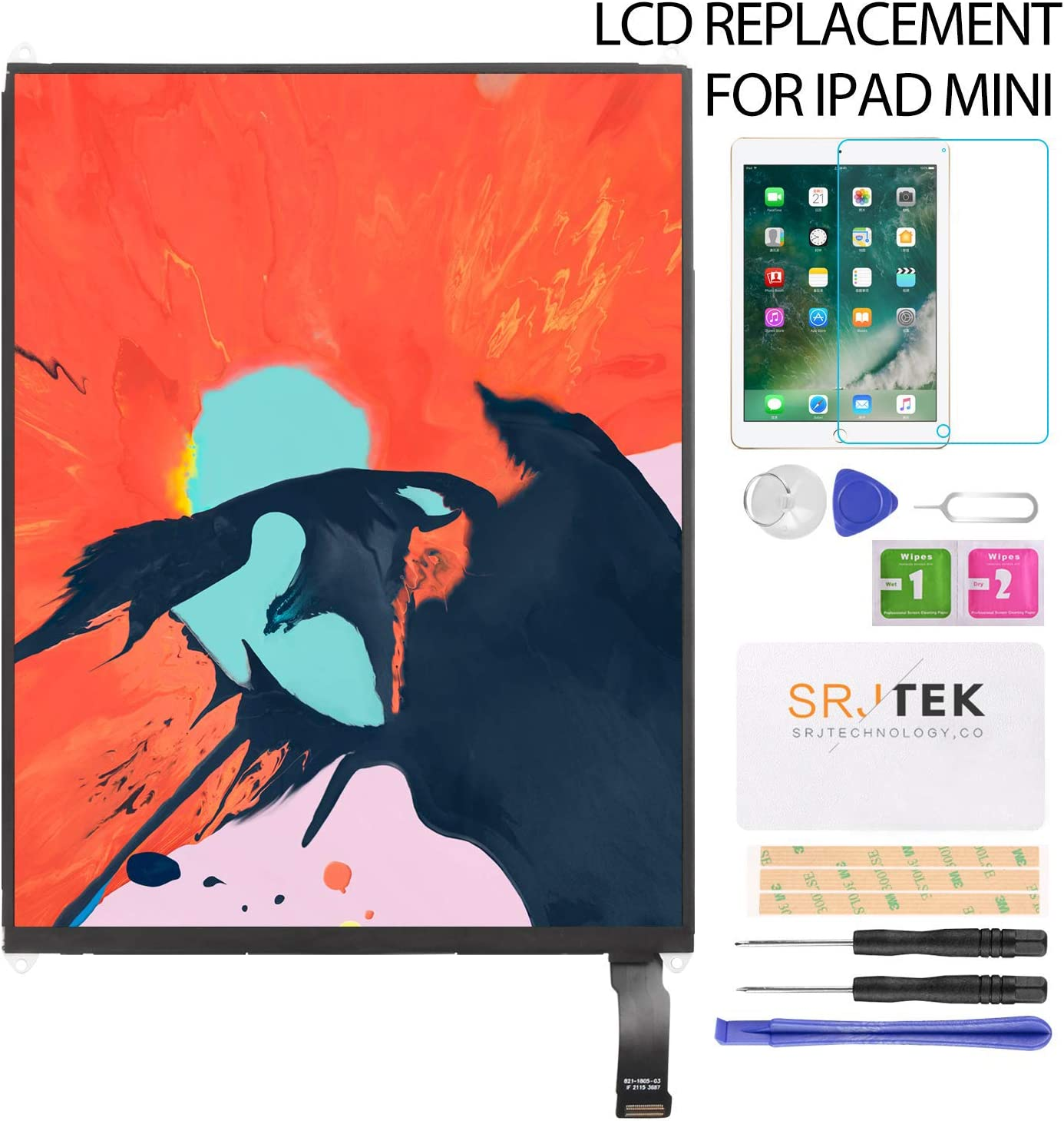 "SRJTEK for iPad Mini A1432 LCD Screen Replacement,for ipad Mini 7.9"" A1432 A1455 A1454 LCD Display Screen Panel Repair Parts Kits"
