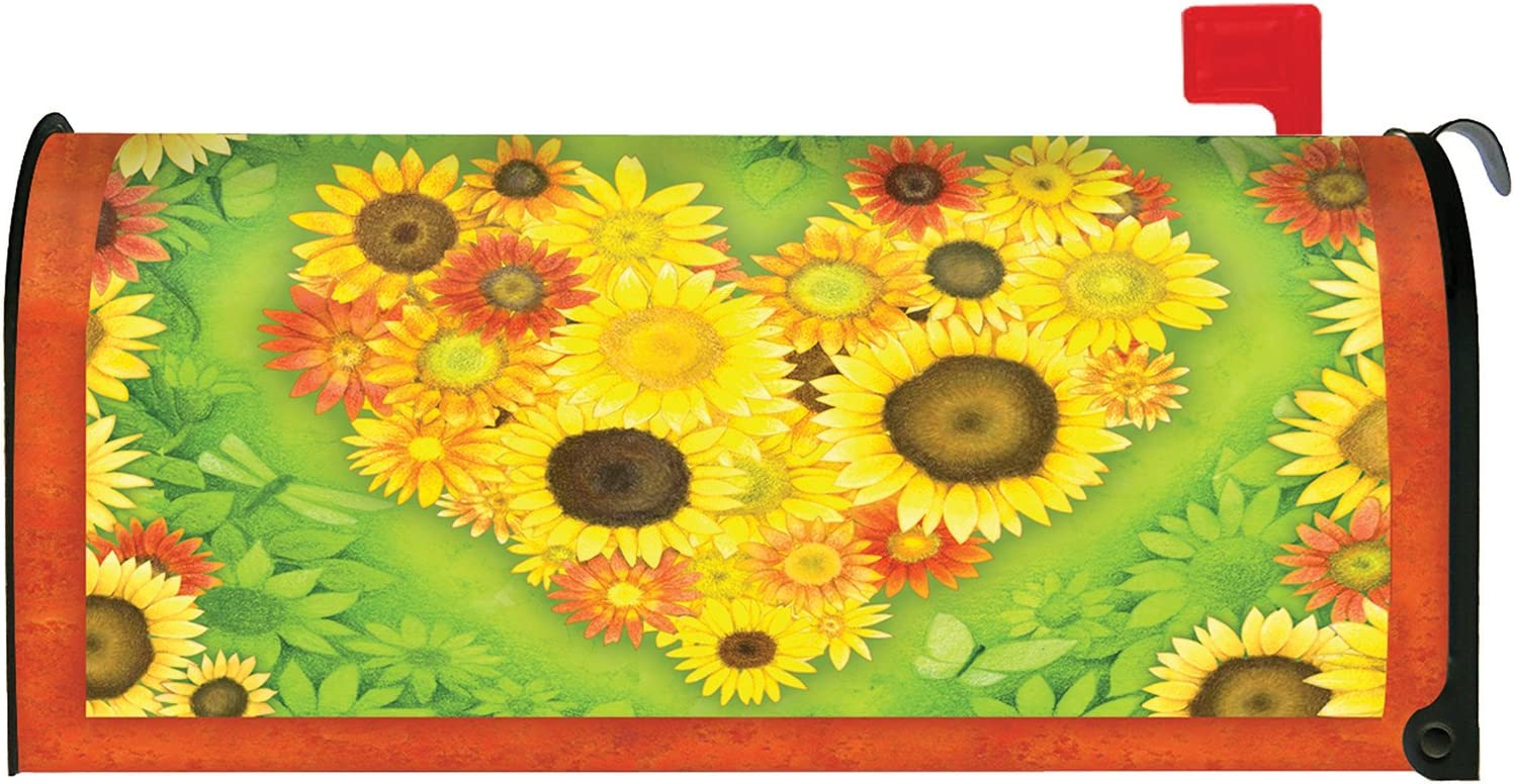 Toland Home Garden Sunflower Heart Fall Autumn Flower Magnetic Mailbox Cover