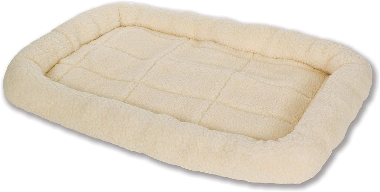 Little Giant Pet Lodge Fleece Pet Bed, 29 Inch Medium Size, Cream