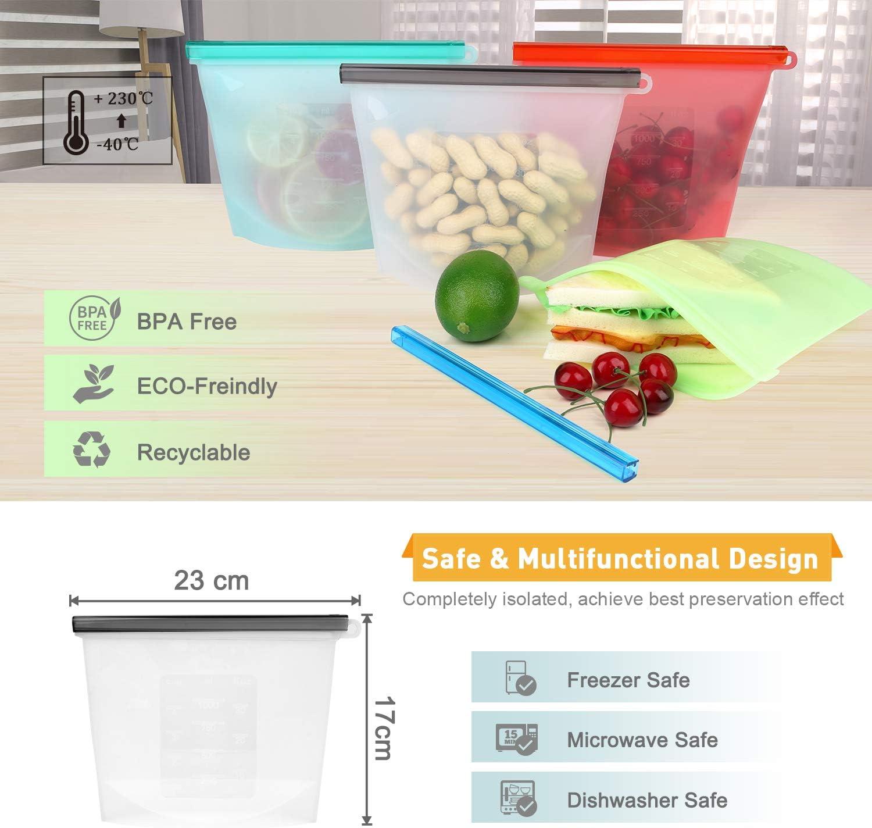 BBLIKE 6 x Tapas Silicona Ajustables Cocina, 4 x Bolsas Silicona ...