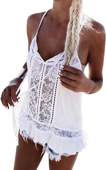 Womens Printed Ruffled Sleeve Tank Tops T-shirt Slim Striped Summer Vest Blouses