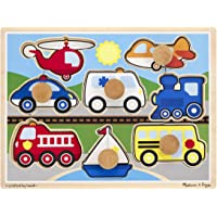 Melissa & Doug Vehicles Jumbo Knob Wooden Puzzle (8 pcs)