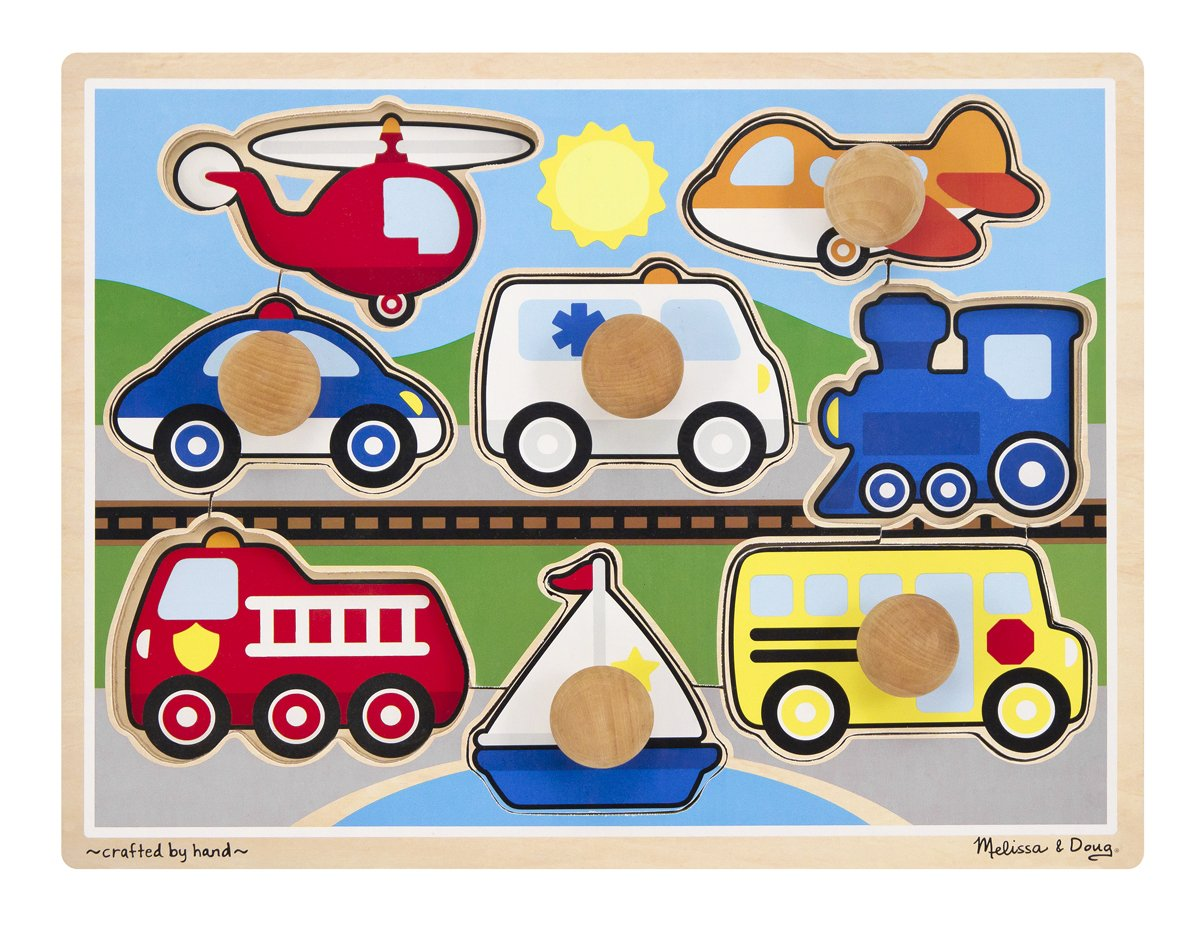 Melissa & Doug Vehicles Jumbo Knob Wooden Puzzle (8 pcs) Melissa and Doug 8980