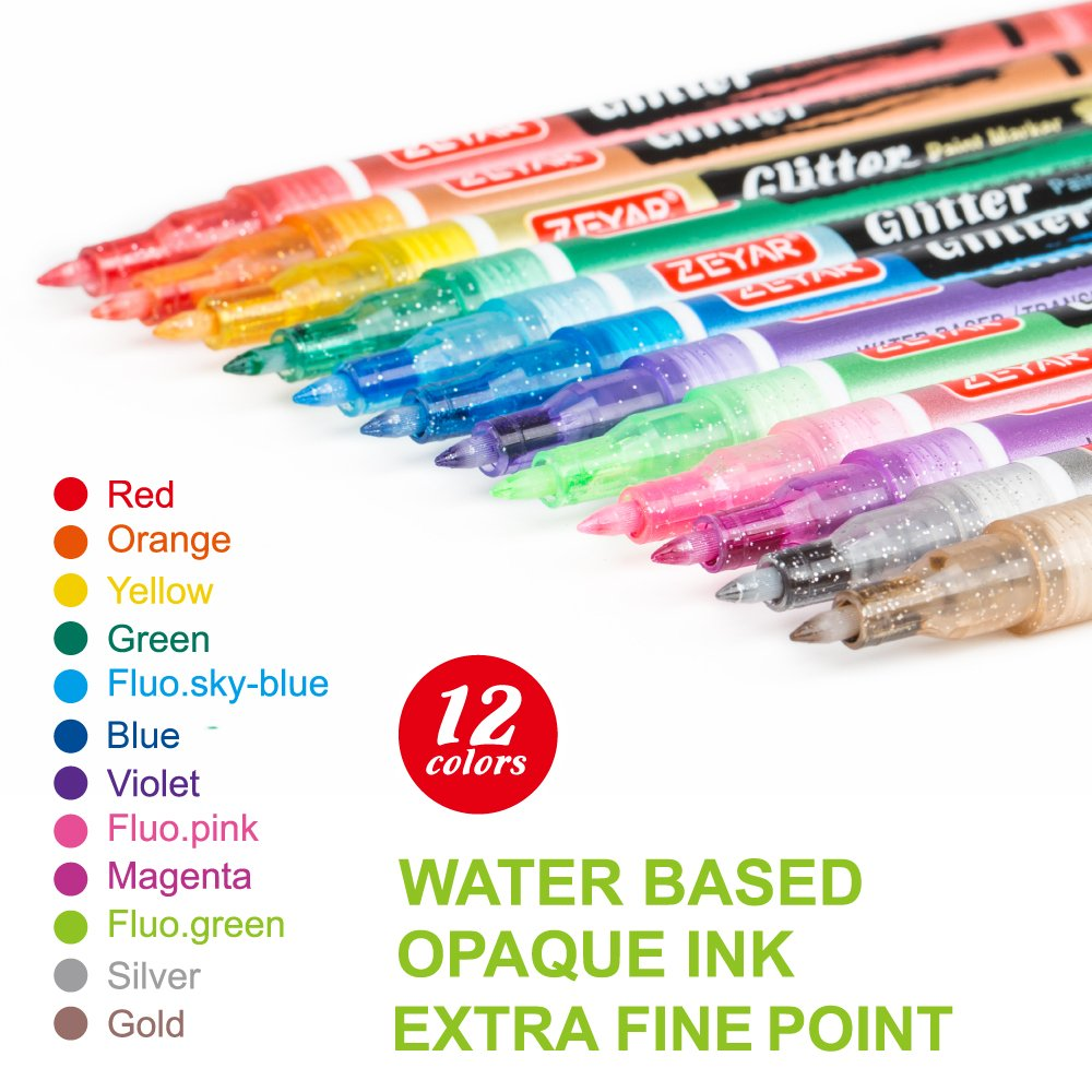 Glitter Markers by ZEYAR, Water based, Extra Fine Point, Nylon Tip, Set of 12, Multiple Colors, Odorless, Acid Free, Non-Toxic and Safe, Environmental friendly,Professional Paint Marker Manufacturer