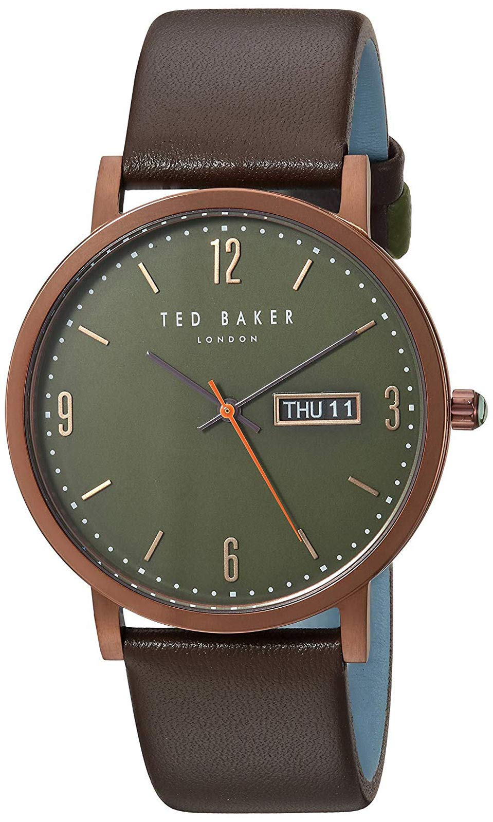 Ted Baker Men's 'Grant' Quartz Stainless Steel and Leather Casual Watch, Color:Brown (Model: TE15196009)