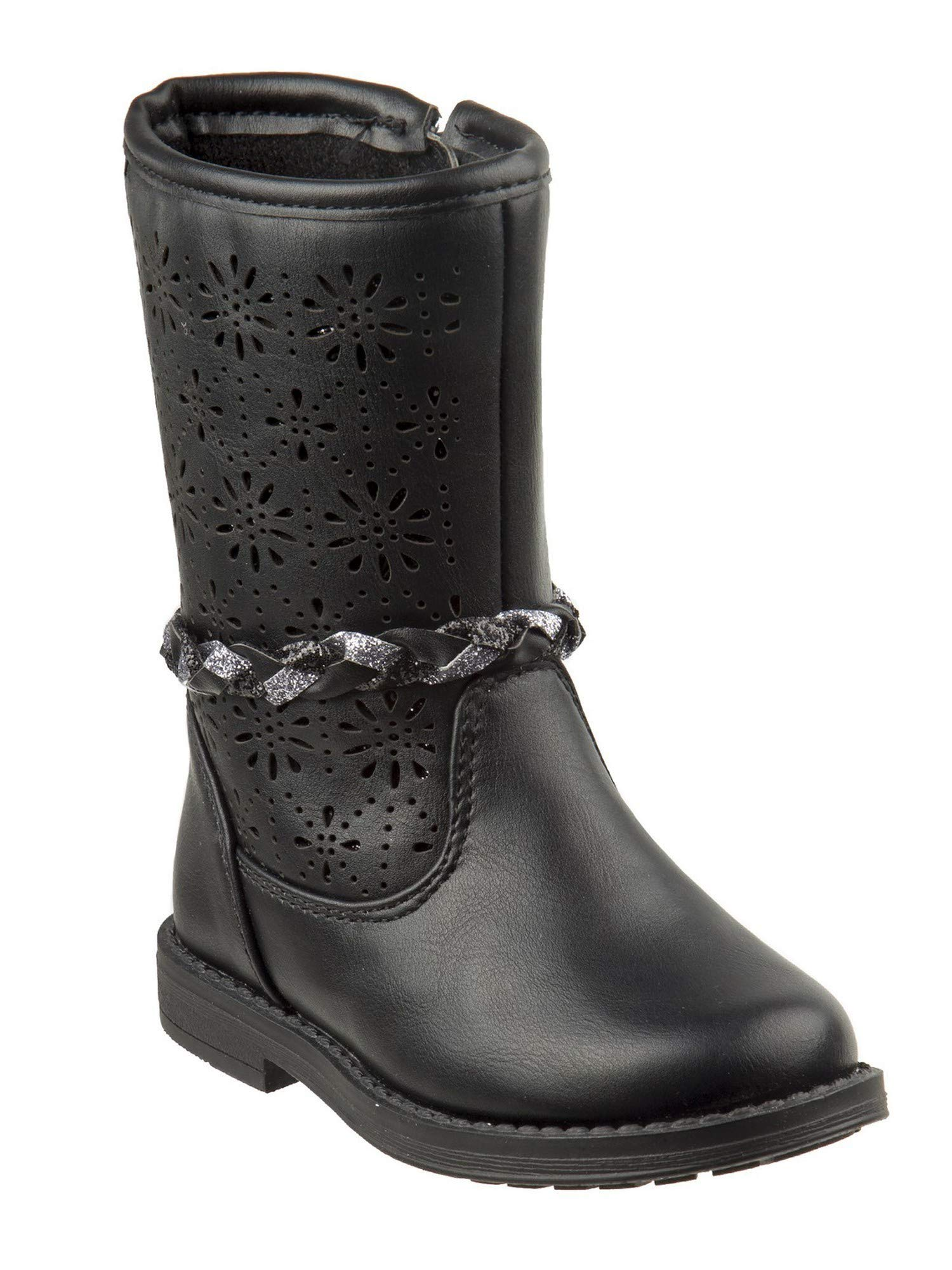Laura Ashley Little Girls Black Cut-Out Braided Strap Boots 11 Kids