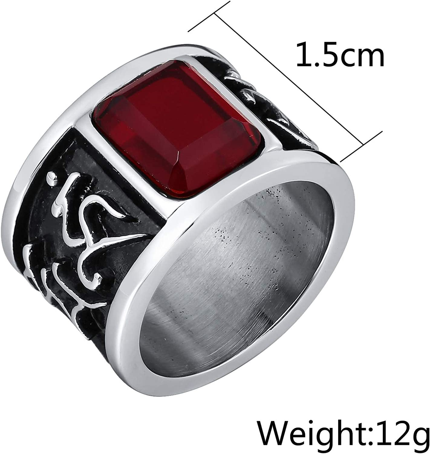 Bishilin Stainless Steel Ring Vintage 1.5CM Rattan Stripe Baguette Shape Wedding Ring for Men