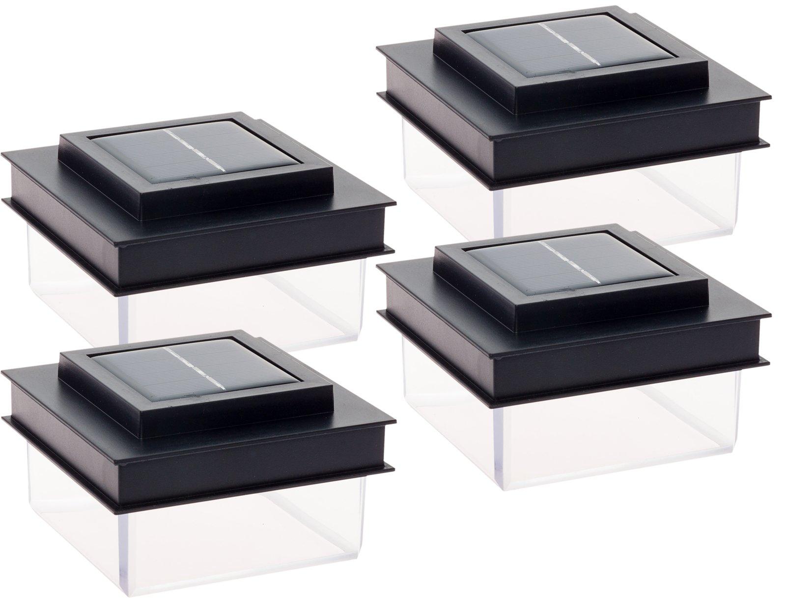 GreenLighting Translucent 12 Lumen LED Solar Powered Post Cap Light for 4x4 Wood Posts (4 Pack, Black)