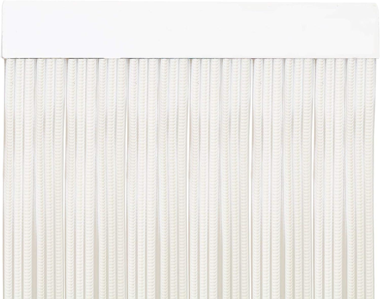MercuryTextil P69 Cortina Puerta PVC 210x90cm Blanco+Filo Transparente, Plastico