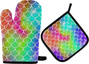 DOMIKING Oven Mitts Pot Holders Sets - Rainbow Scales Mermaid Oven Gloves Heat Resistant Hot Pads Non-Slip Potholders for Kitchen BBQ Baking