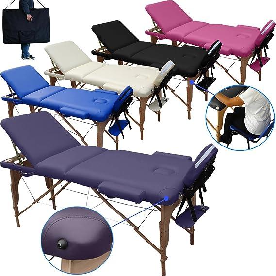 Beltom Camilla de Masaje 3 Zonas portatil 195 x 70 cm. Mesa Cama Banco Plegable Reiki Fsioterapeuta - Purpura: Amazon.es: Hogar
