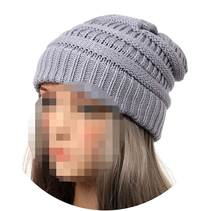 Beanies Winter Hats for Women Hat with Tag Warm Stretch Knit Chunky Cable  Beanie Ski Cap a2ef33efa