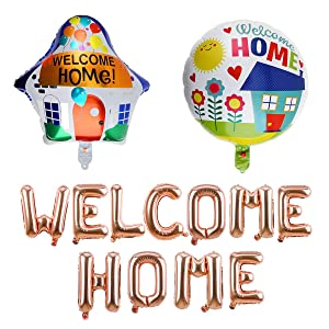 Welcome Home Decorations-Rose Gold Welcome Home Balloon, Colorful House Shape, Round Balloon for Home Party Supplies, Deployment Return Decoration