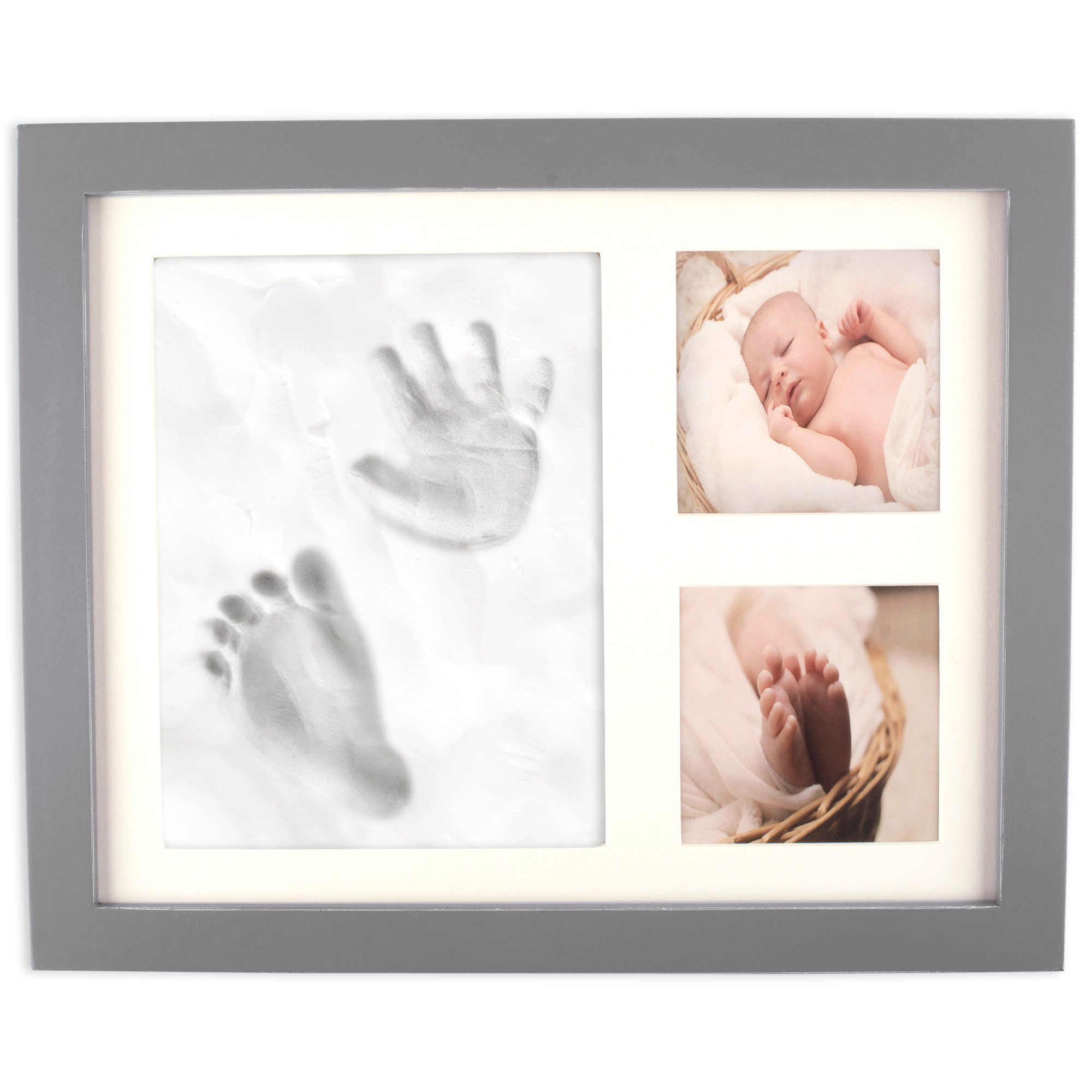 Home Traditions Z01771 Baby Handprint and Footprint Kit Frame for Newborn Boys and Girls, Personalized Gifts, Shower Registry, Keepsake Box, Nursery Decor - Holds Two 3x3 Images and Clay Included