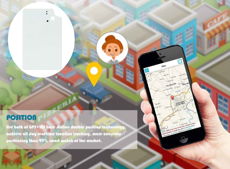 Hangang Mini Tracker GPS Ultra-Mince Anti Perte Traceur GPS en Temps R/éel Localisateur GPS pour Portefeuille Enfants avec Application Gratuite TK912 Noir