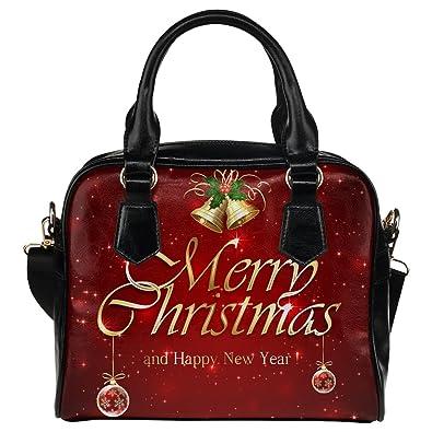 casecoco red starry merry christmas womens pu leather purse handbag shoulder bag - Christmas Purses Handbags
