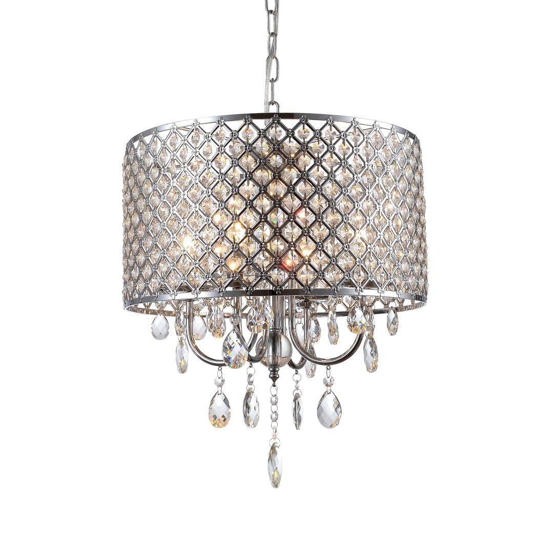 Mirrea crystal chandelier pendant light 4 lights with crystal mirrea crystal chandelier pendant light 4 lights with crystal beaded drum shade chromed finish amazon arubaitofo Images