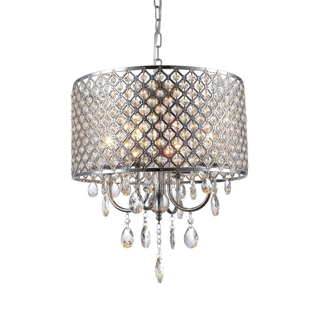 mirrea Crystal Chandelier Pendant Light, 4 Lights, with Crystal Beaded Drum Shade Chromed Finish by mirrea