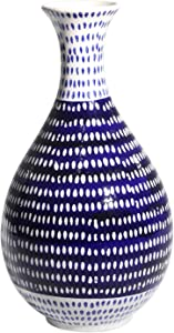 Sagebrook Home 12351-03 Ceramic Vase, Blue/White Ceramic, 6.5 x 6.5 x 12.75 Inches