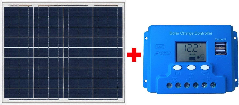 Ahorraluz Kit Placa Panel Solar 50w y Controlador Regulador de Carga de 10A, Negro