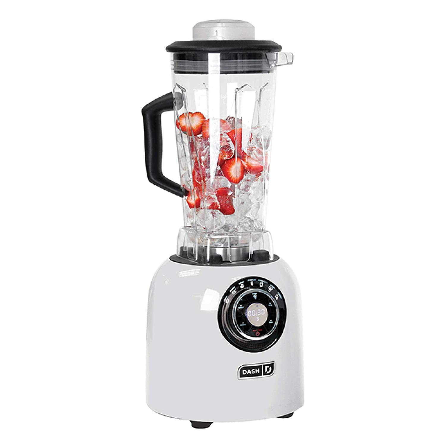 Dash DPB500WH with Sm with Stainless Steel Blades + Digital Display for Coffee Drinks, Frozen Cocktails, Smoothies, Soup, Fondue & More, 64 oz. White