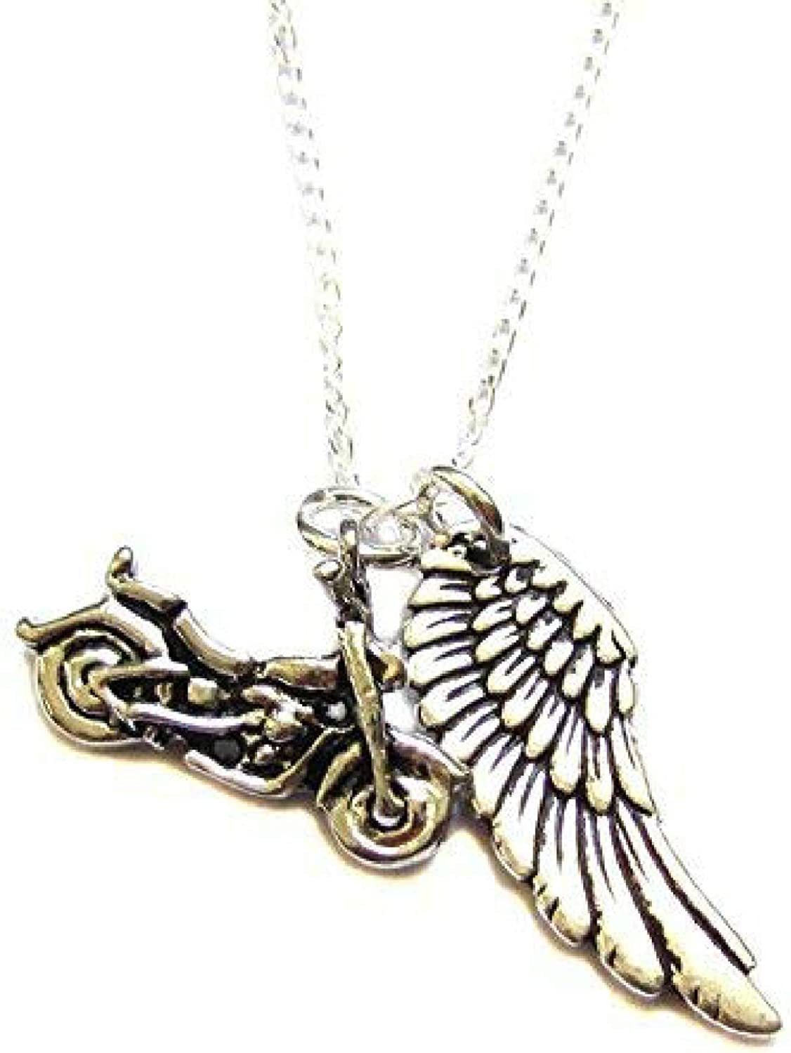 """Heart Projects Motorcycle Angel Wing Charm Necklace 18"""" Safe Travels Guardian Angel Gift"""
