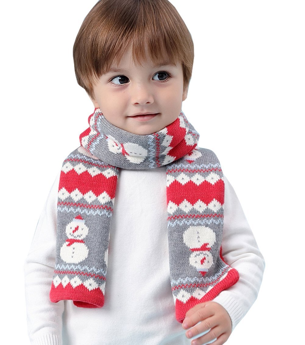 Kids Winter Fashion Warm Knit Scarf Fleece Chunky Christmas Snowman Scarf