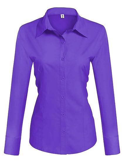 Misakia Womens Long Sleeve Slim Fit Button Down Dress Shirt At