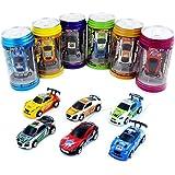 3Pcs/Lot(3Pcs different frequencies) Cans type mini RC car/Portable pocket toy car with 4pcs roadblocks,Color random match