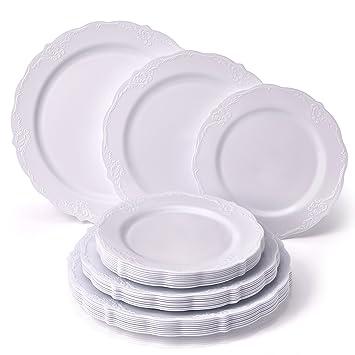 Juego de vajilla desechable para fiestas, 30 piezas, 10 platos llanos, 10 platos