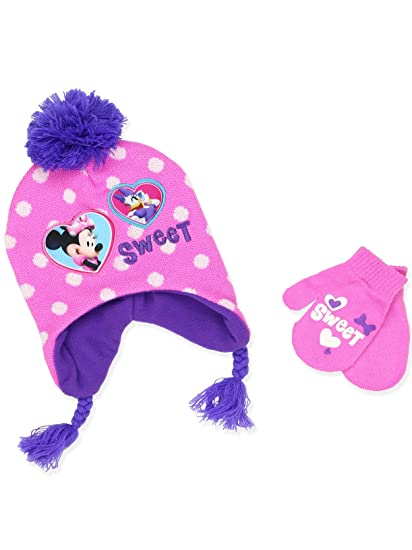b284f209d10 Amazon.com  Minnie Mouse Girls Beanie Hat and Mittens Set (One Size ...