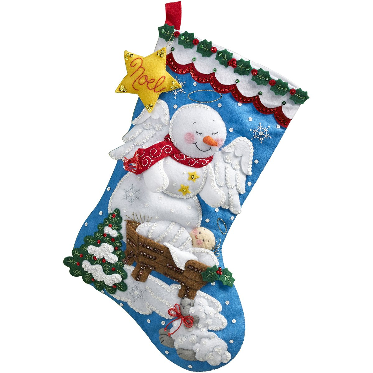 Bucilla 18-Inch Christmas Stocking Felt Applique Kit, 86646 Snow Angel Plaid Inc dimensions needlecrafts holiday stitchery