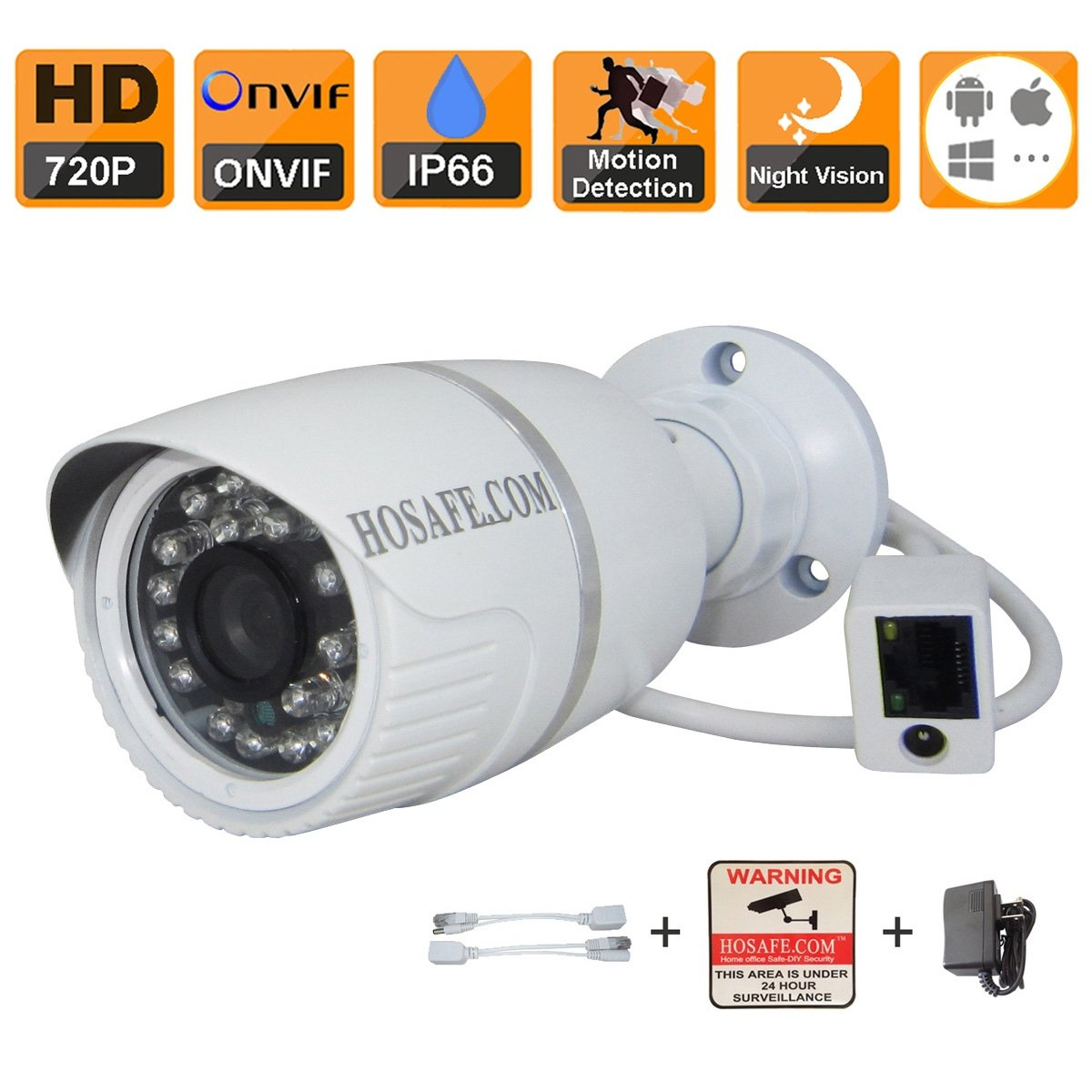 HOSAFE 1MB1W HD IP Camera Outdoor 720P Night Vision ONVIF H