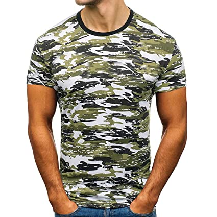 7b4893b9 Xlala Men's Camouflage T-Shirt Print Casual Round Neck Short Sleeve Sports  Fitness Quick Dry