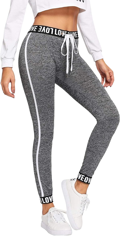SOLY HUX Damen Sport Leggins Leggings Capris Yoga Pants mit Kordelzug Streifen Seitenstreift