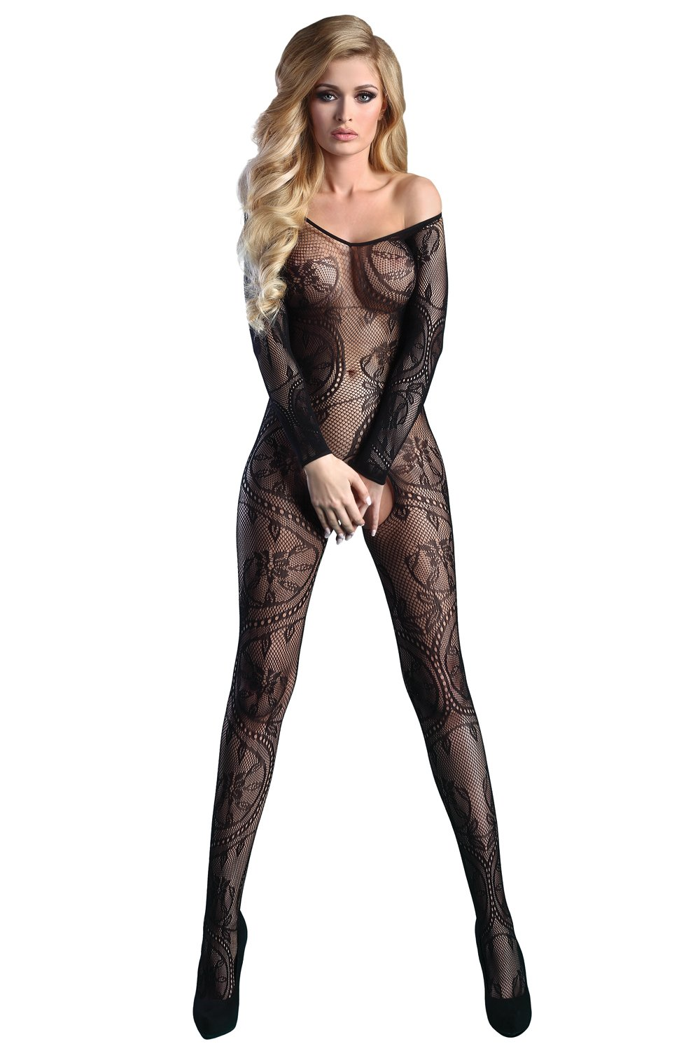 ff24355a51d Ladies Sexy Long Sleeve Bodystocking Abra LivCo Collection Lingerie Many  Colours