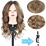 """20""""-22"""" Training Head 100% Real Human Hair Cosmetology Hairdressing Mannequin Manikin Doll Head (Table Clamp Holder Included)"""