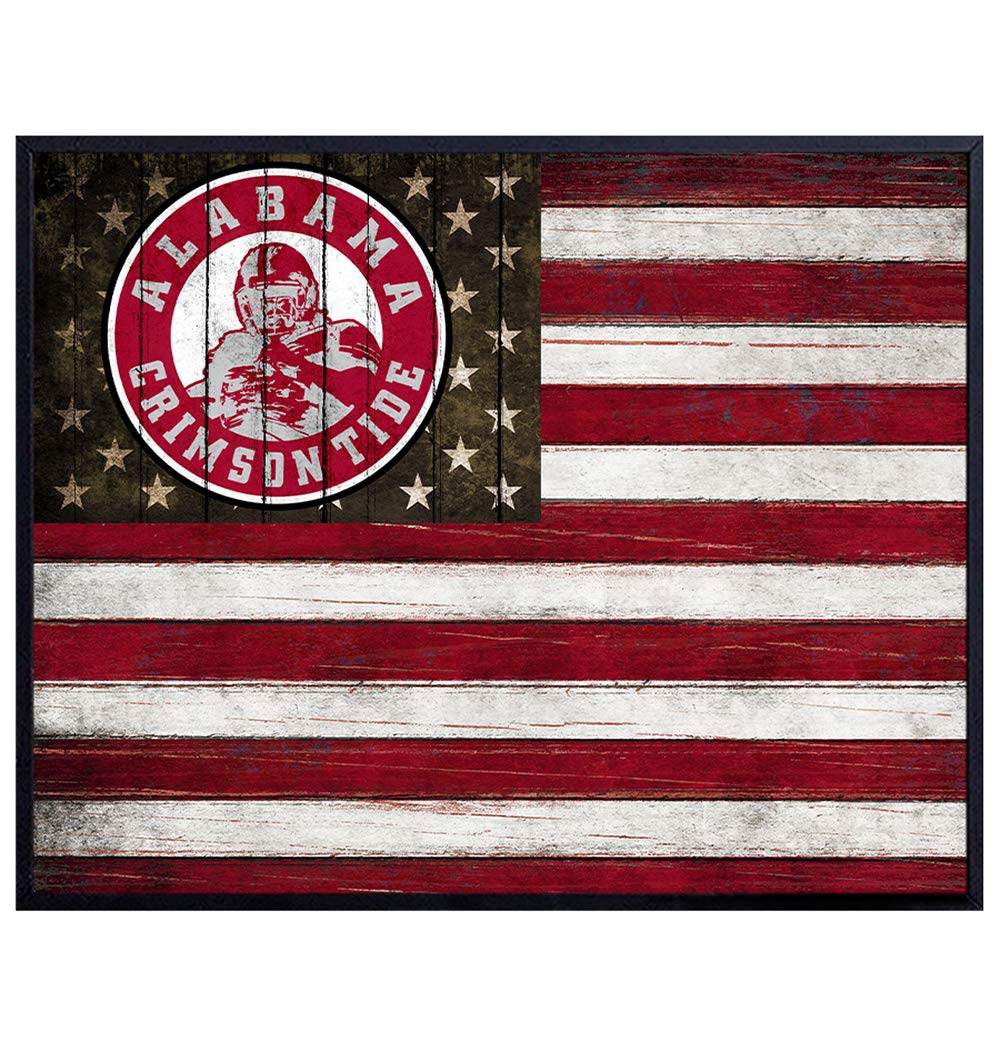 Alabama Crimson Tide Football Wall Art Print - Patriotic Flag Poster - Gift for Men, UA, Bama, Sports Fans - Home Decor for Dorm Room, Office, Man Cave - 8x10 Photo Unframed - Roll Tide