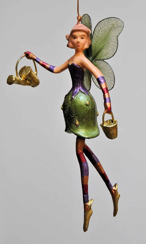 Christbaumschmuck Figur Blumenelfe mit Gießkanne Elfe Baumschmuck 15cm