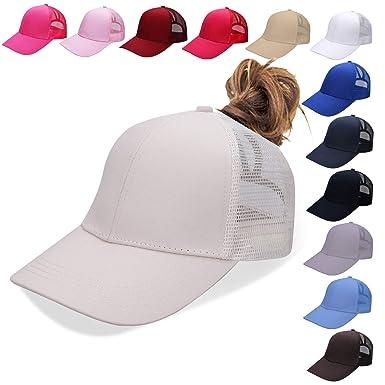 e6b7d1ab3 NeuFashion Ponycap Messy High Bun Ponytail Adjustable Mesh Trucker Baseball  Cap Hat