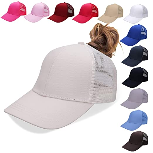 b190017f7 NeuFashion Ponycap Messy High Bun Ponytail Adjustable Mesh Trucker Baseball  Cap Hat for Women