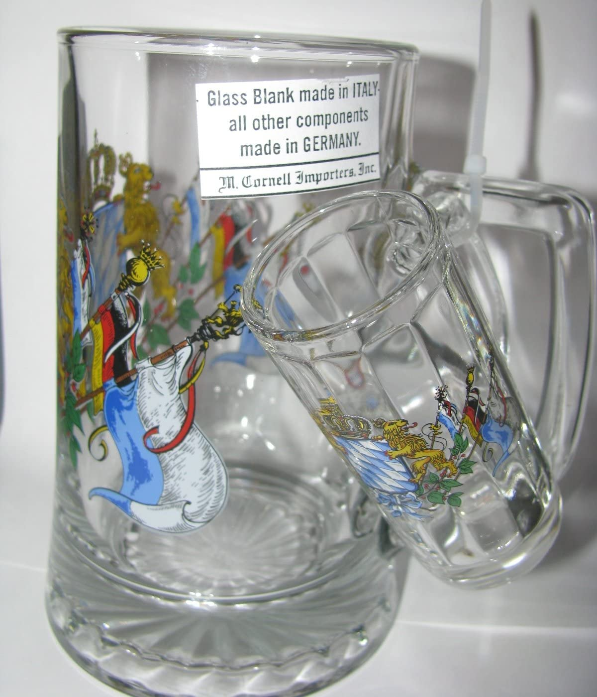BAVARIAN FLAGS FATHER /& SON STEIN UNIQUE GERMAN FATHERS BEER GLASS STEIN SET Cornell 6126