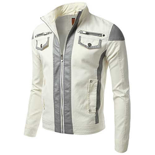 IDARBI Mens Zip Up Moto Jacket (S-3XL)