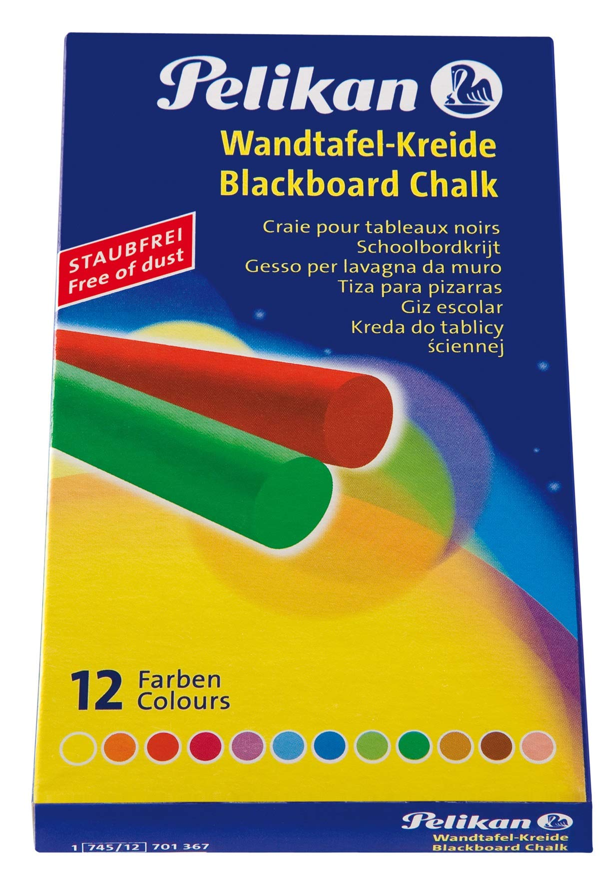 Pelikan 701367 Blackboard Chalk 10 x 12 Assorted Colours