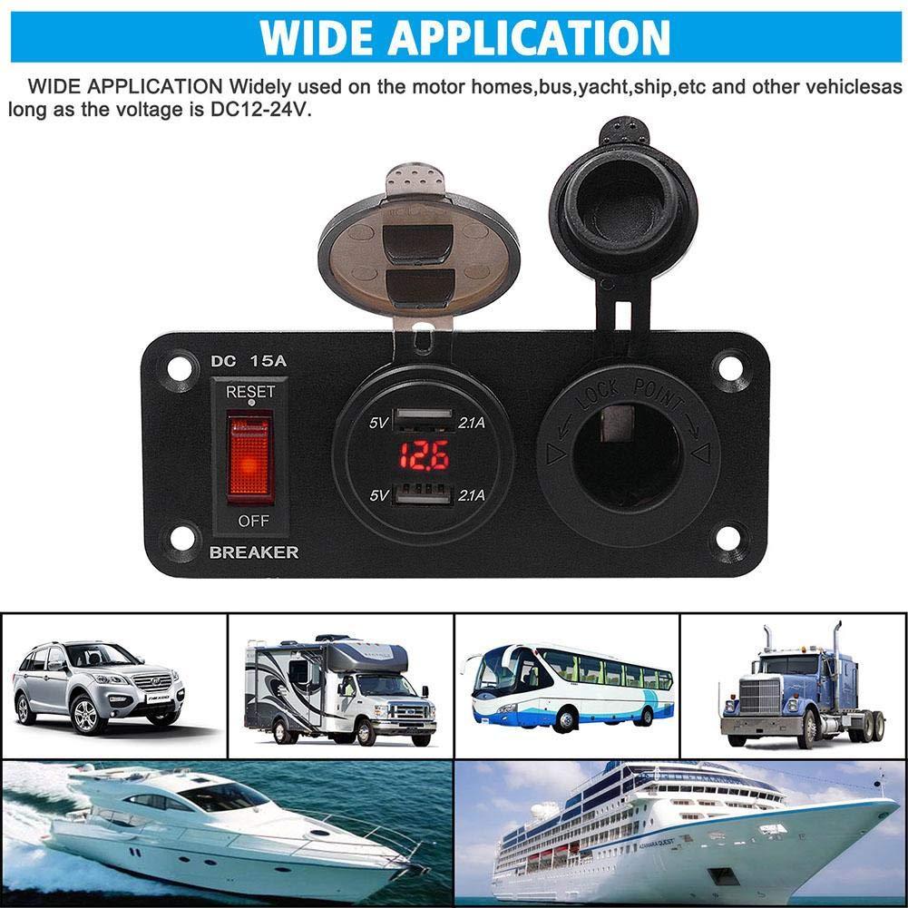 Tablet Auto Dual USB Ladeger/ät 12V Steckdose LED Voltmeter ON-Off Kippschalter Panel f/ür Auto GPS etc WIDE APPLICATION verwendet werden kann zum Aufladen von Handys