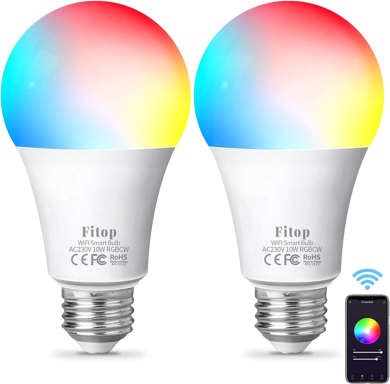 Fitop Bombillas LED WiFi inteligentes -Bombilla LED regulable multicolor 9 W 900 LM 2200 K - 6500 K + RGB Bombilla WiFi compatible con Siri, Alexa y el Asistente de Google - Blanca cálida