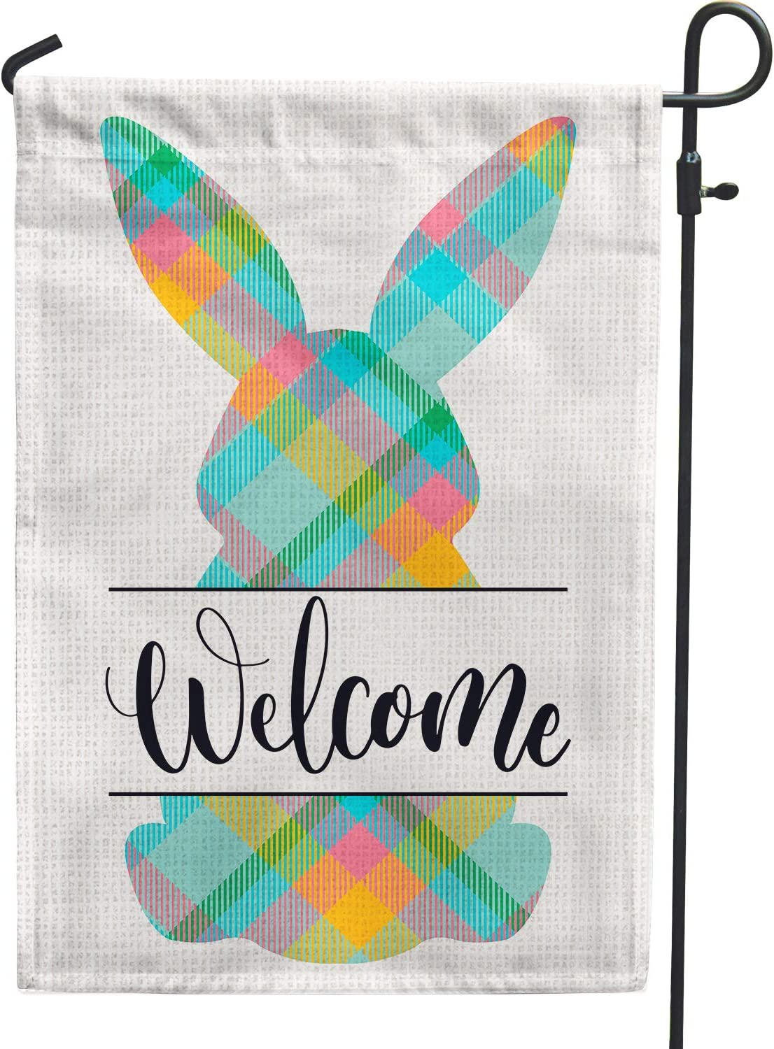 Welcome Easter Spring Garden Flags 12x18 Double Sided Burlap, Small Buffalo Plaid Bunny Flag for Spring Easter Day Yard Outdoor Outside Decoration