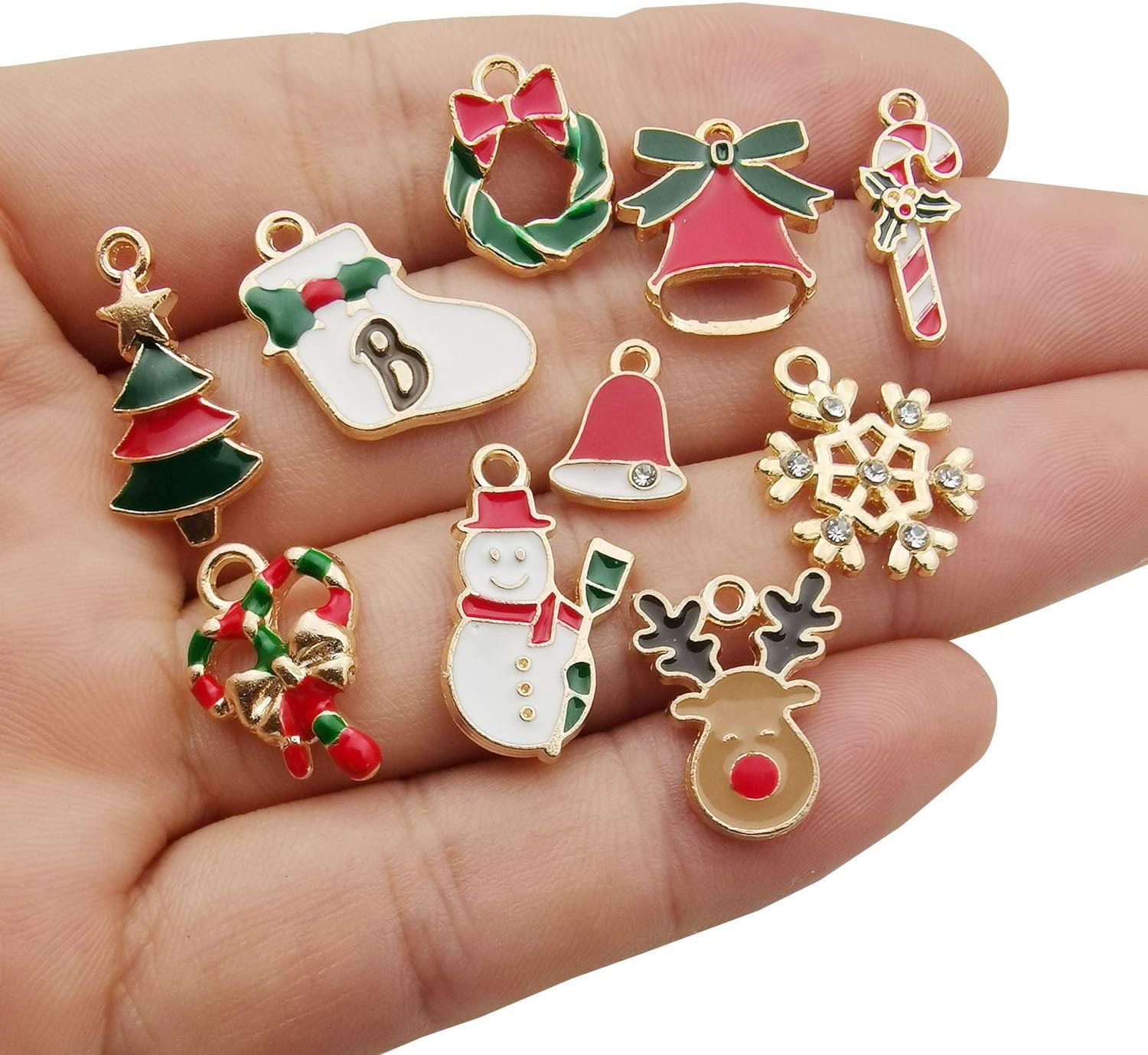 WOCRAFT 60pcs Assorted Gold Plated Enamel Christmas Charm Pendant for DIY Jewelry Making Necklace Bracelet Earring DIY Jewelry Accessories Charms M346