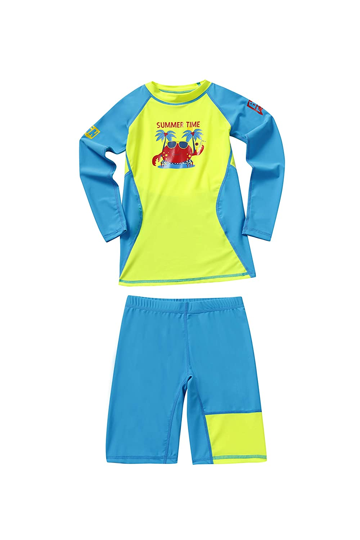 DIVE/&SAIL Boys Two-Piece Rashguard Swimsuit Long Sleeve Swimwear with Shorts Set